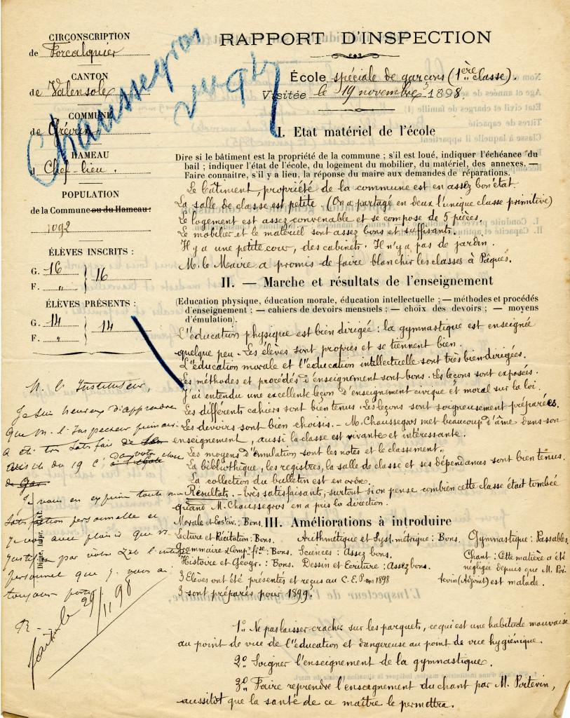 1T322 rapport inspection 1898 Eugène Ch a