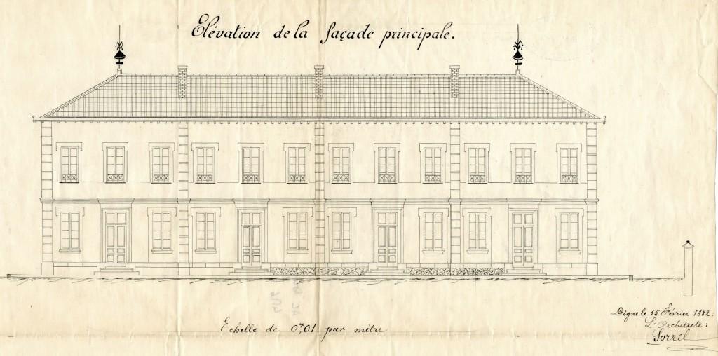 AC Digne 4 M 6 Plan de la façade 15fev1882 - Copie