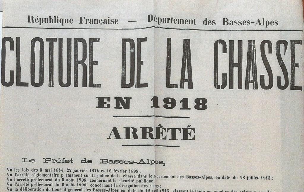 cloture de la chasse 1918